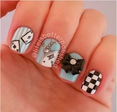 Alice Nail-Art by #lifeisbetterpolished♥•♥•♥