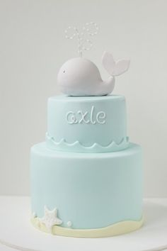 Baby Shower Cake :: Soft Blue and White