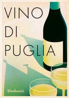 "Carluccio's ""Vino Di Puglia"" An illustration by French illustrator malikafavre commissioned by Carluccio's for their seasonal wine festival. Typography and"