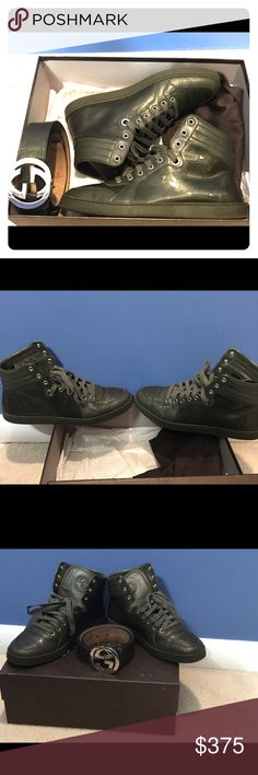 Military Green Retro Gucci Sneaker an Belt Military Green Retro Gucci Sneaker in good condition with minor creasing an a belt to Match. Sneaker size 9us (8g) an also the belt size 34-38. Good condition Gucci Shoes Sneakers
