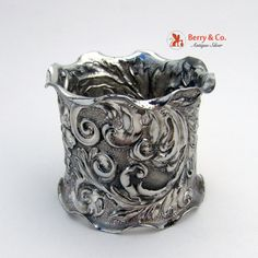 Ornate Napkin Ring Floral Repousse Silverplate 1890