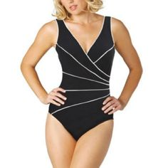 Miraclesuit Ladies Swimsuit  Black  White Size 8 * You can get additional details at the image link.