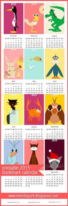 FREE printable 2015 children calendar | bookmark calendar