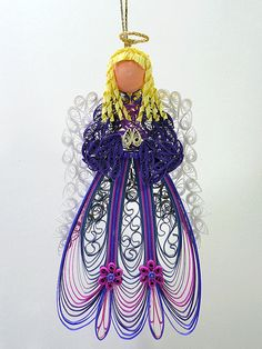 Quilled / Filigree Ornament - Heavenly Angel Adorned in an Imperial Purple and Fuchsia Pink Gown with Lacy White Wings
