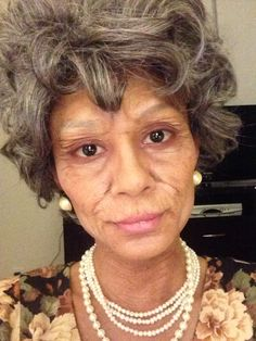 Old lady costume. Old age makeup and special effects with liquid latex.