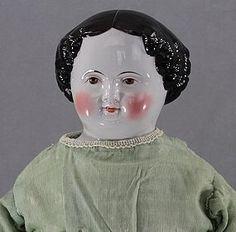 Civil War Era BROWN Eye China Head Doll from JOY'S ANTIQUE DOLLS on Doll Shops United http://www.dollshopsunited.com/stores/joysantiquedolls/items/1296985/Civil-War-Era-BROWN-Eye-China-Head-Doll