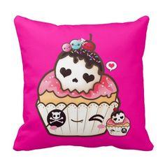Kawaii skull cupcake throw pillow