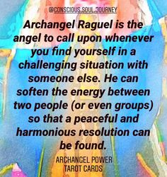 Archangel Raguel is the angel to call upon whenever you find yourself in a challenging situation with someone else. He can soften the energy between two people (or even groups) so. Click image for full post. Archangel Raguel, Archangel Uriel, Wiccan, Witchcraft, Chaplet Of St Michael, Cute Good Morning Images, Arch Angels, Archangel Prayers, Daily Positive Affirmations