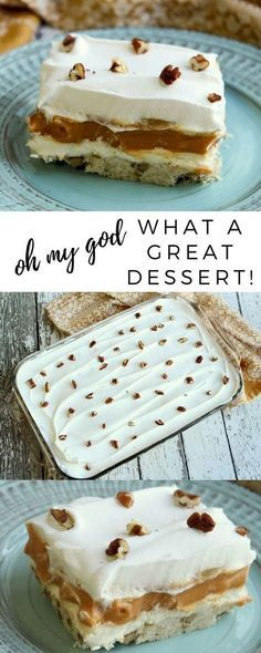 4 layers of goodness. The bottom layer is nutty, crunchy and tastes like a shortbread. The second layer has a hint of tanginess from the cream cheese but is also a bit sweet. The sliced bananas are soft and creamy. The butterscotch pudding is delish!