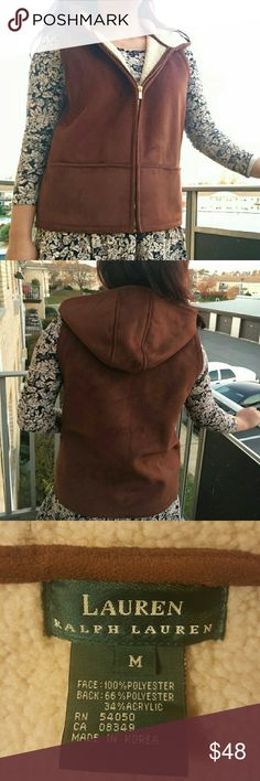 *HP*Ralph Lauren faux suede vest with hoodie Host pick Nov 24 2016 !! Ralph Lauren faux suede vest with zipper in the front. It is warm and has a hoodie. The hoodie is not detachable.  There are two pockets in the front. In excellent condition.  *price is firm unless bundled. *no trades or lowball offers please. Feel free to ask questions :) happy poshing! Ralph Lauren Jackets & Coats Vests