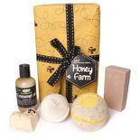 Honey Farm gift: One sniff of the mouth-watering fragrance of our Honey I Washed the Kids soap and you'll fall in love! That's why we've given the scent to more products, including Honey Bee Bath Bomb, Soft Coeur massage bar and the latest, It's Raining Men shower gel. Not only does it smell heavenly, honey is soothing on young, mature, dry and sensitive skin. We've packed all these scrumptious treats up into one box, plus our best-selling Butterball Bath Bomb for a gift that's the bee's knees.