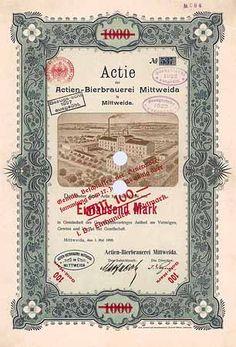 Actien-Bierbrauerei Mittweida | Actie 1.000 Mark 1.5.1900. Gründeraktie (Auflage 600, R 10).