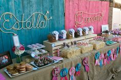 Personalized Western Rope Name Art, perfect for any country, western, rustic or nautical themed nursery, room or party.  Please visit my etsy shop, Lasso Lettering, at https://www.etsy.com/shop/LassoLettering?ref=hdr_shop_menu  Rope Names, Estella and Graceanne, make a perfect backdrop for their joint cowgirl birthday party.