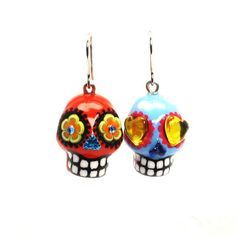 Skull Earrings 00158 Day of the Dead Mexican Sugar Skulls Ceramic Handmade Art and Crafts Halloween Gifts Calavera Jewelry  www.goodiemud.com