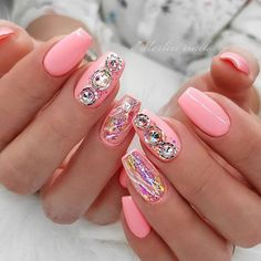 Short Coffin Nails With Big Stones ❤ 35+ Outstanding Short Coffin Nails Design Ideas For All Tastes ❤ See more ideas on our blog!! #naildesignsjournal #nails #nailart #naildesigns #nailshapes #coffinnails #ballerinanailshape #shortcoffinnails Pink Wedding Nails, Wedding Nails Design, Coffin Shape Nails, Coffin Nails Long, Chic Nails, Trendy Nails, Ballerina Nails Shape, Cute Pink Nails, Dot Nail Designs