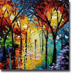 Oil Painting Rainy Night ART Palette Knife Oil  Painting by bsasik, $280.00