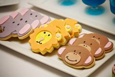 Jungle Party: Ellie,Lion & monkey face cookies