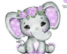 Purple Elephant, Baby Girl Elephant, Baby Shower Purple, Purple Baby, Purple Teal, Crown Clip Art, Baby Elefante, Pink Floral Crowns, Elephant Images