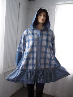 Upcycled Hoodie Shirt Jacket Tunic Dress Oversized Denim Blue  Patchwork from Mens Shirts
