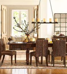 Seagrass chairs are perfect for this dining room. #potterybarn