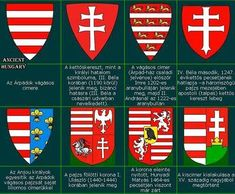 The development of the Hungarian Coat of Arms until the century Heart Of Europe, Early Middle Ages, Mystery Of History, Teaching History, Knights Templar, Banner, Central Europe, European History, Budapest Hungary