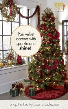 Big Lots brings you the Festive Blooms Collection for a stunning holiday look. Mix jewel tones with deep reds and purple velvet accents. Tap the Pin to get this luxurious look for your home. Rustic Christmas, Christmas Home, Christmas Holidays, Christmas Crafts, Christmas Ideas, Simple Christmas, Holiday Ideas, Christmas Tree Decorations, Holiday Decor