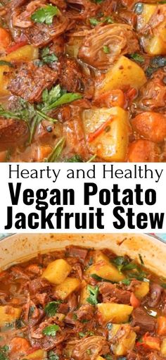 A hearty, delicious and healthy vegan potato stew with meaty jackfruit, carrot, smoky spices and tomatoes that will make you go back for seconds and lick your bowls clean. Best served with garlic bruschetta to mop up all that tasty plant-based gravy. Vegan Dinner Recipes, Whole Food Recipes, Cooking Recipes, Healthy Recipes, Easy Recipes, Dinner Healthy, Vegetarian Recipes Jackfruit, Jackfruit Dinner Recipes, Vegan Recipes With Potatoes