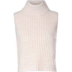 Cream Turtle Neck Vest (€33) ❤ liked on Polyvore featuring tops, sweaters, cream, sleeveless tank tops, vest top, pink turtleneck, sleeveless turtleneck and cream tank top