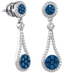 Yellow-goldColored Diamonds are hassle-free return policy Blue Diamond Jewelry, Diamond Dangle Earrings, Blue Earrings, Jewelry Polishing Cloth, Fashion Earrings, Jewelry Collection, Turquoise Bracelet, Dangles, White Gold