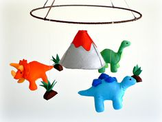 Felt dinosaur baby mobile - nursery decor - Stegosaurus - Triceratops - Brontosaurus - Volcano - Fern - baby mobile - MADE TO ORDER