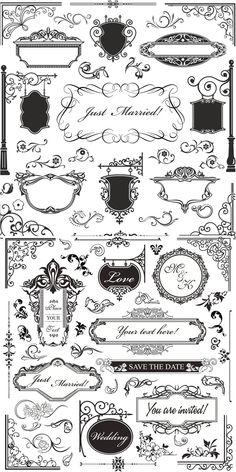 Vintage ornamental elements vector