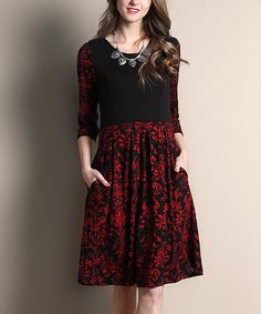 Look what I found on #zulily! Black & Red Damask Fit & Flare Dress #zulilyfinds