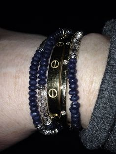 Wrap bracelet... Sapphires and smokey quartz...