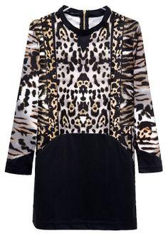 Black Contrast Leopard Long Sleeve Bodycon Dress US$24.95