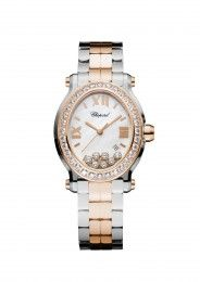 Chopard Watch Happy Sport Oval Watch 18k rose gold, stainless steel and diamonds