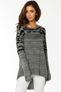 ShopSosie Style : Purrfect Knit Sweater in Grey