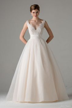 anne barge #bridal fall 2015 leah sleeveless ball gown #wedding dress blush scalloped v neckline straps #weddingdress #weddings #ballgown See more at: http://www.weddinginspirasi.com/2014/11/24/anne-barge-fall-2015-wedding-dresses/