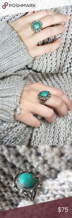 Vintage silver and turquoise ring! This is a gorgeous vintage silver and real turquoise ring! I'm not sure what size it is- I'm a size 4.25 and it's much o big for me. See measurements  I love it, but can't wear it even as a thumb ring  so I want it to go to someone who will love it and wear it! Make me an offer or bundle and save! Happy poshing loves! Jewelry Rings