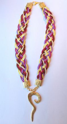 Necklace with Leather Cord & Gold Color Metals. by Rosestyle, $7.50