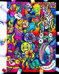 The smARTteacher Resource: Kawaii Graffiti Art, Graffiti Doodles, Doodle Art Drawing, Art Drawings Sketches, Cool Drawings, Illusion Kunst, Illusion Art, Marker Kunst, Marker Art