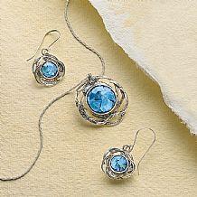 Roman Glass Pendant & Earrings