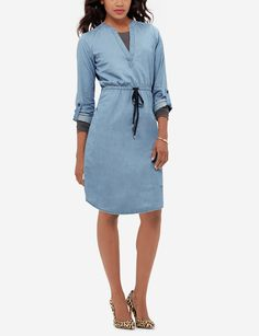 Chambray Shirtdress - The Limited Lounge Collection introduces versatile styles that mix and layer for undeniable chic. Whether you're cozy on the couch or busy on-the-go its comfortwear that goes anywhere.