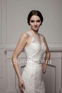 Trumpet/Mermaid Wedding Dresses V-neck Court Train Lace Satin Ivory 010010501027