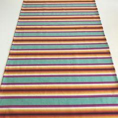 Mexican Aqua stripe runner Bright Colors, Colours, Dinner Club, Mexico City, Linens, Beach Mat, Aqua, Outdoor Blanket, Mexican