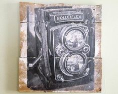 Vintage Rolleiflex Camera Wall Hanging, Fine Art Photograph Manually Transfer to Whitewashed Pieces of Reclaimed Wood, Ready to Hang Rolleiflex Camera, Custom Wall, Household Items, Decorating Your Home, Im Not Perfect, My Photos, Fine Art, Black And White, Wood