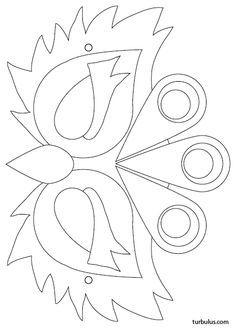 Mask to print in black and white, to color . Peacock Mask, Diy For Kids, Crafts For Kids, Felt Crafts, Paper Crafts, Carnival Crafts, Bird Masks, Felt Mask, Mask Template