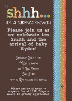 Elegant Printable Surprise Baby Boy Shower Invitation By StampyAmyDesigns, $10.00