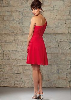 Chic Chiffon One Shoulder Neckline Knee-length A-line Bridesmaid Dress