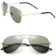 a53a9a8b71cdb Saint Laurent Classic 11 Oversized Metal Aviator Sunglasses ( 410) ❤ liked  on Polyvore featuring