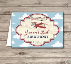 Airplane Boy Birthday Thank You Cards